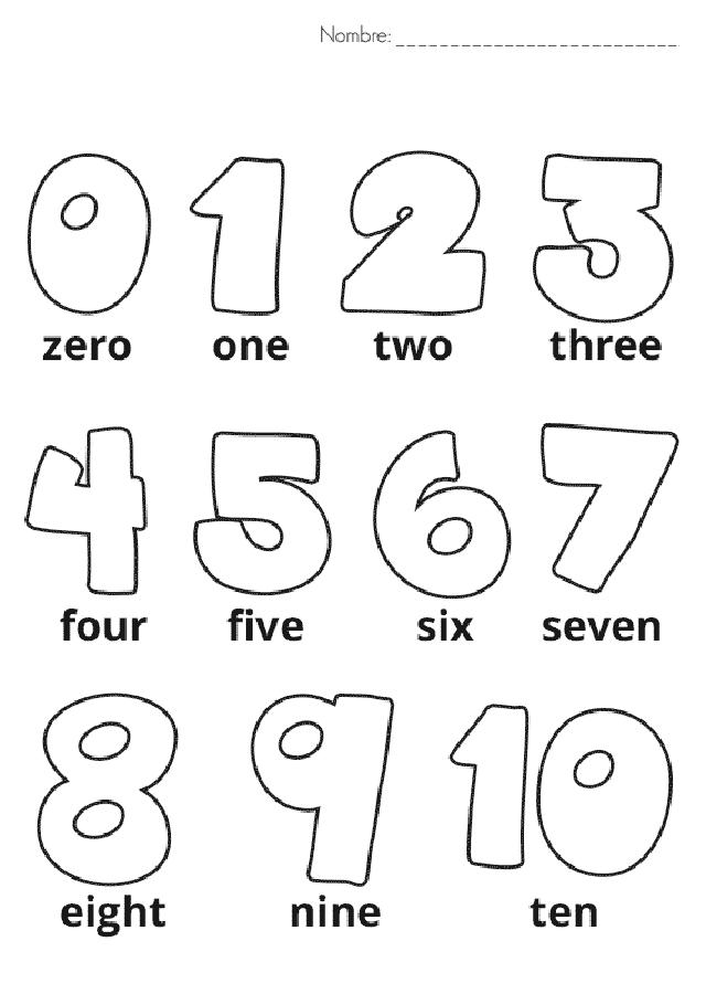 ficha de numeros en ingles del 1 al 10 para imprimir