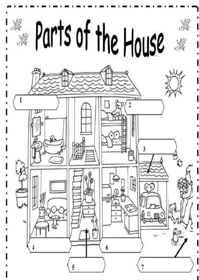 Dibujos para colorear partes de una casa en ingles dibujos para colorear - Partes de la casa en ingles para ninos ...