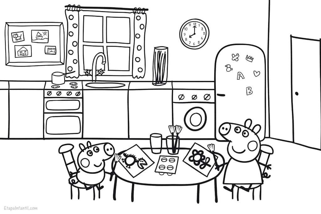 Dibujo Peppa Pig en cocina casa para imprimir y colorear