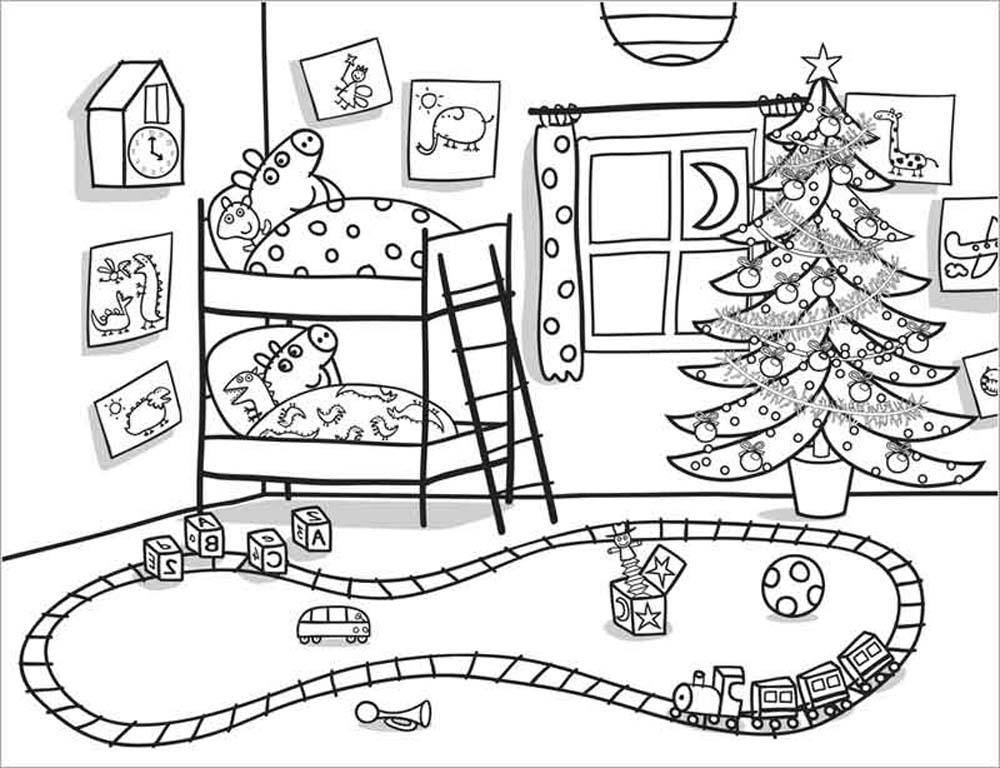 Peppa Pig en noche de Navidad para colorear y dibujar
