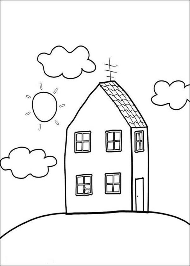 casa de peppa pig para colorear