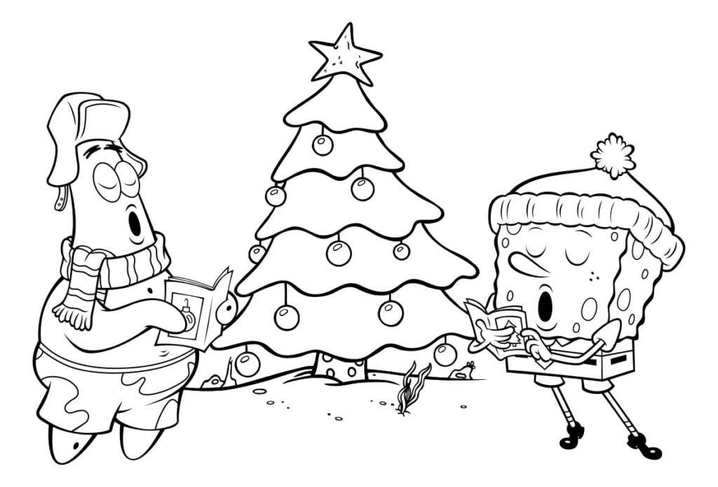 patricio y bob esponja cantando villancicos en el arbol de navidad para imprimir y pintar