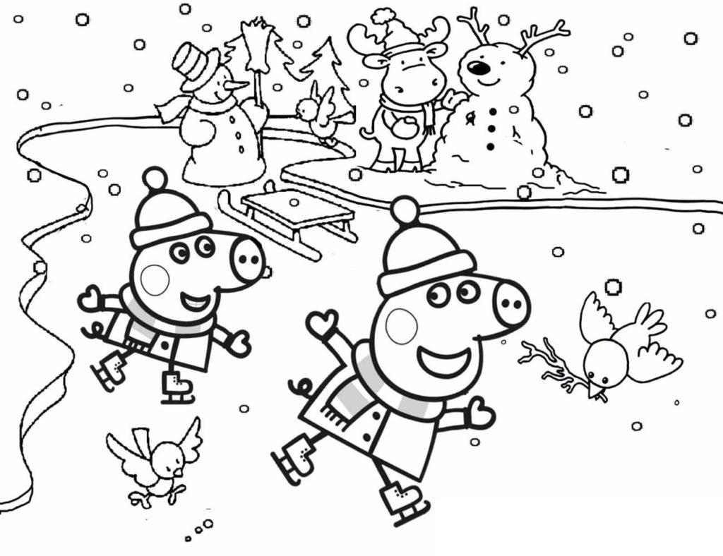 peppa pig jugando en la nieve