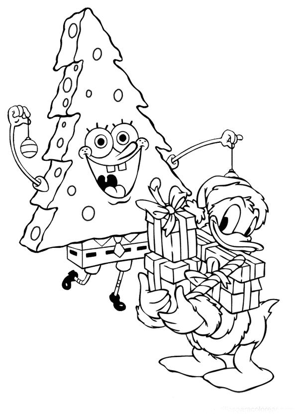 Dibujos para colorear online Navidad bob esponja y el pato donal