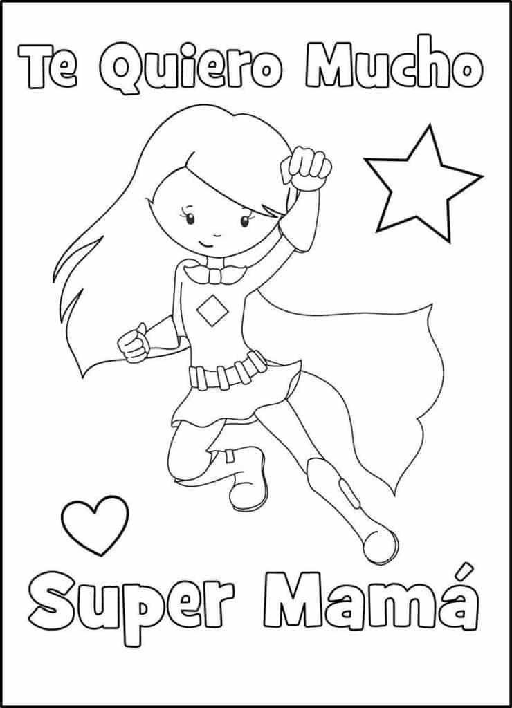 Súper mama Día de la Madre para colorear