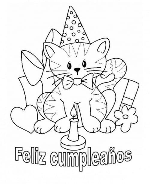 feliz cumpleaños gatito soplando una vela