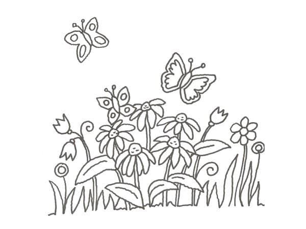 dibujo-de-mariposas-y-margaritas-para-pintar-con-ninos