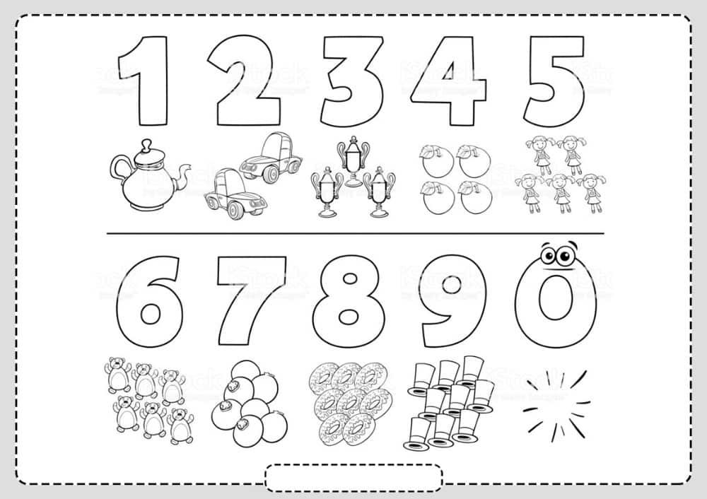 numeros sencillos para colorear con dibujos