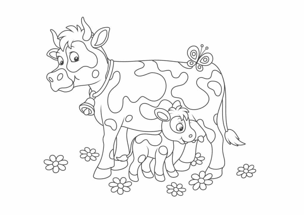 vacas con mariposas para colorear